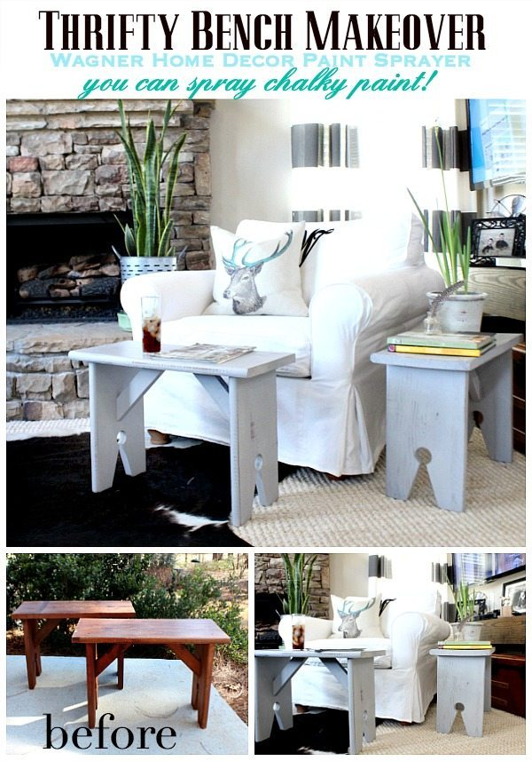 Thrifty Bench makeover with Wagner Home Decor Paint Sprayer