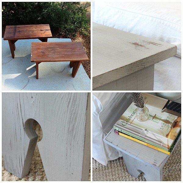 Thrifty stool makeover - Bench makeover with Wagner Home Decor Sprayer - Thrift store bench with chalk based paint