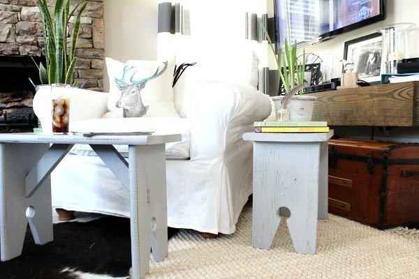 Twin benches - Bench makeover with Wagner Home Decor Sprayer - Thrift store bench with chalk based paint