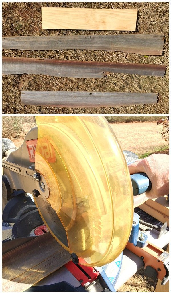 Wood for creating the planter box - scrapes and barn wood - Ryobi miter saw