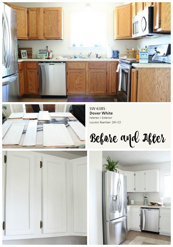 Dover white kitchen cabinets refresh restyle for Before and after painting kitchen cabinets white