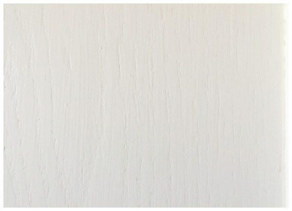 Close up of the oak grain but smooth finish - SW ProClassic Dover White painted cabinets