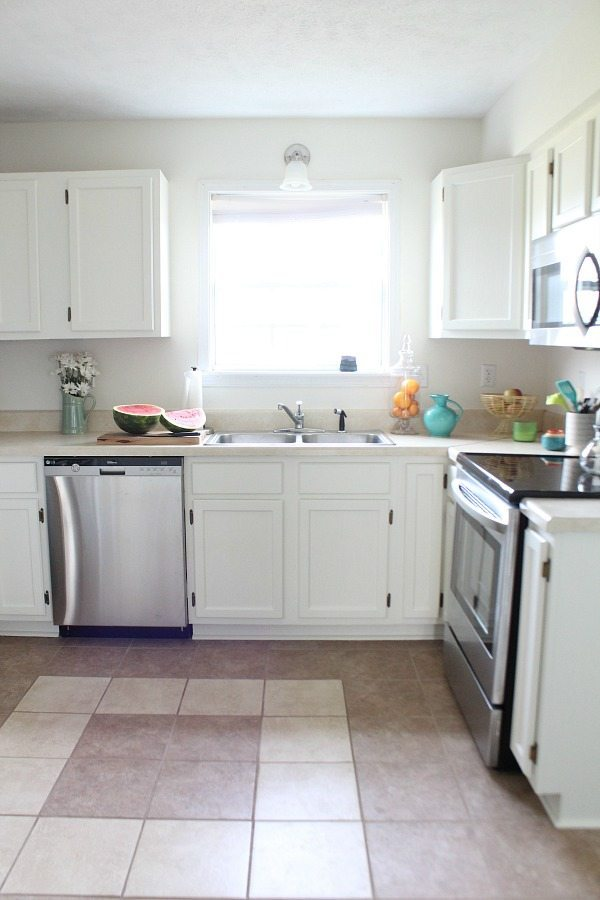 Cottage Kitchen - light and bright painted cabinets SW Dover White