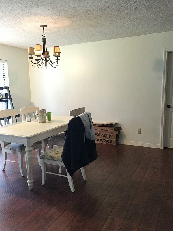 Dining room wall before Farmhouse wall treatment at Refresh Restyle