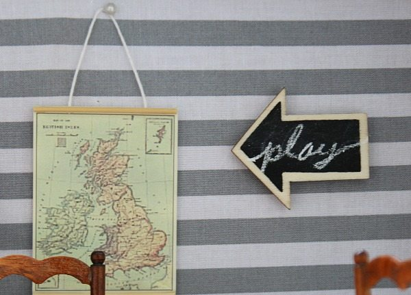 Dollhouse chalkboard and hanging map at Refresh Restyle