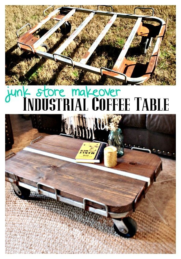 Industrial Coffee Table from junk store find at Refresh Restyle