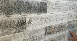Installing Stikwood for a weather white farmhouse wall treatment at Refresh Restyle