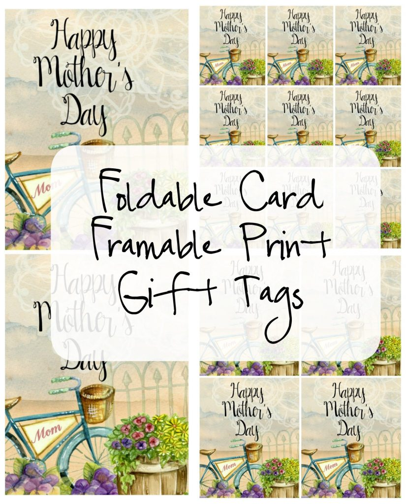 Mother's Day Foldable Card, Framable Print, Gift Tags