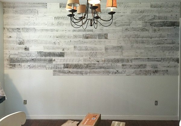 Wall treatment using Stikwood to create a Farmhouse look at Refresh Restyle