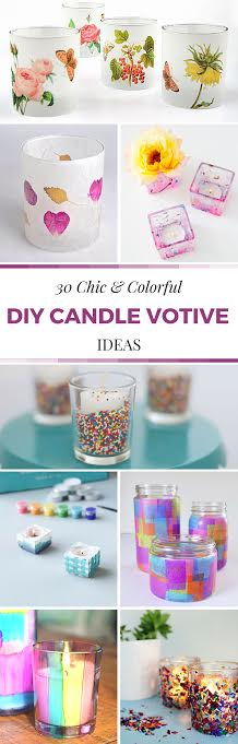 30 Chic and Colorful DIY Candle Votive Ideas