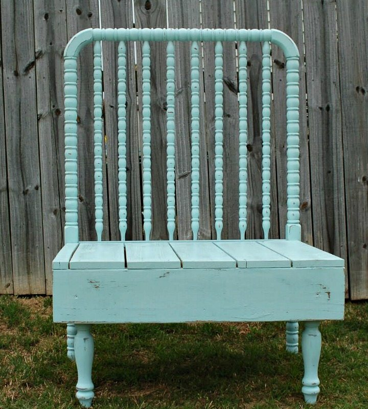 Baby bed bench with natural stain and paint Refresh Restyle furniture make over