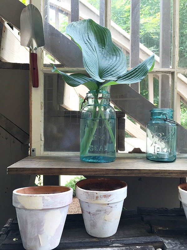 Blue mason jars - Repurposed Window is now a Garden Shelf - easy power tool challenge perfect for the patio at Refresh Restyle