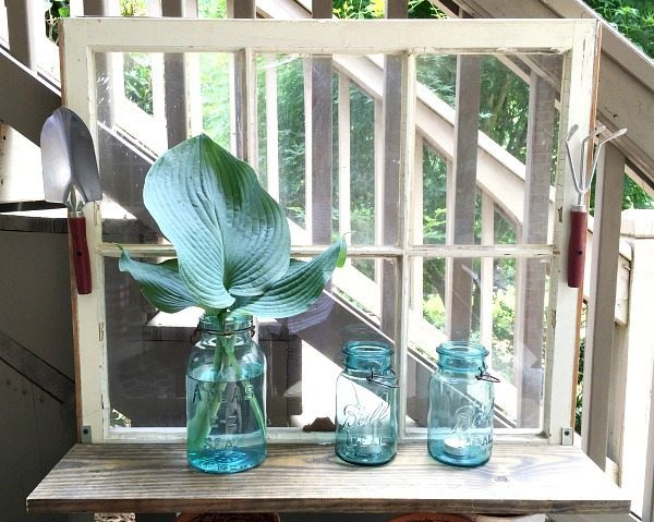 Easy DIY - Repurposed Window is now a Garden Shelf - easy power tool challenge perfect for the patio at Refresh Restyle