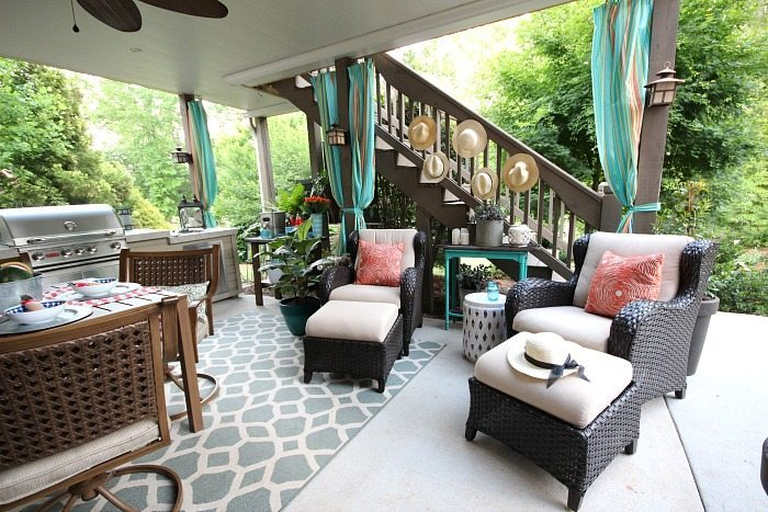 Easy No sew outdoor curtains and Outdoor Entertaining Easy and Affordable at Refresh Restyle