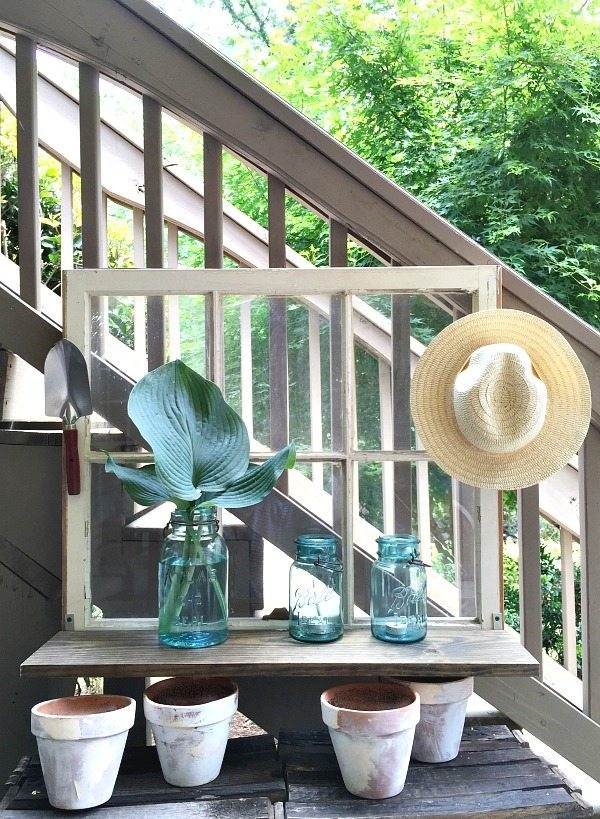 Garden window - Repurposed Window is now a Garden Shelf - easy power tool challenge perfect for the patio at Refresh Restyle