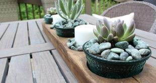 Great for the center of the table - How to Succulents in Pioneer Woman's bowl in a vintage sugar mold from Refresh Restyle