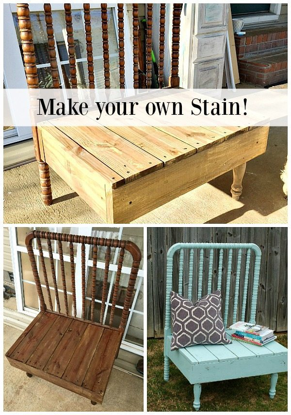 Make your own stain with 2 ingredients Steel Wool and Vinegar see it on this repurposed baby bed bench at Refresh Restyle