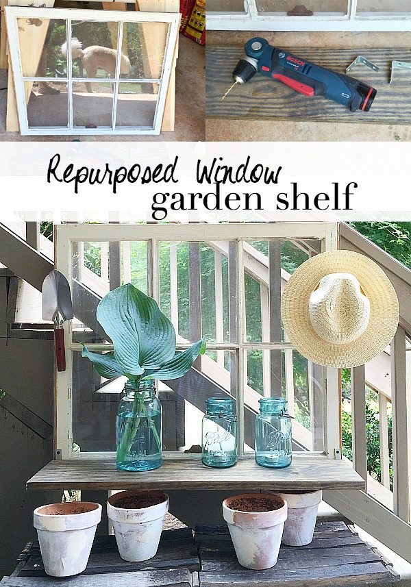 Repurposed Window is now a Garden Shelf - easy power tool challenge perfect for the patio at Refresh Restyle