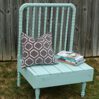 Repurposed baby bed bench with natural stain and paint Refresh Restyle repurposed furniture ideas