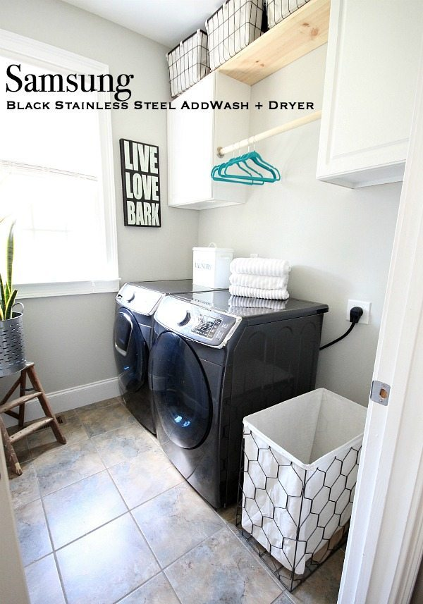 Laundry room makeover in 7 days plus a review of Samsung AddWash Washer and Dryer at Refresh Restyle