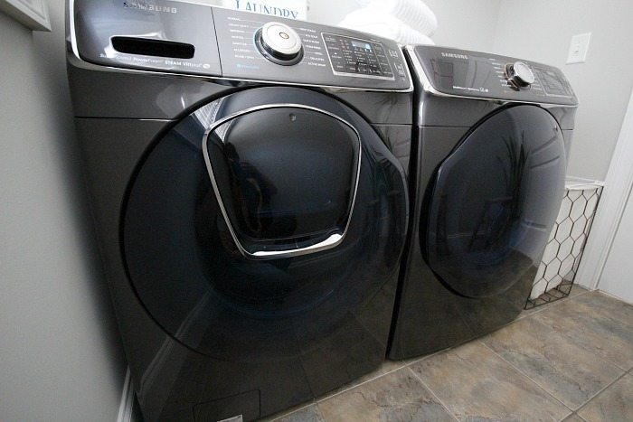 Samsung washer and dryer pair in laundry room makeover