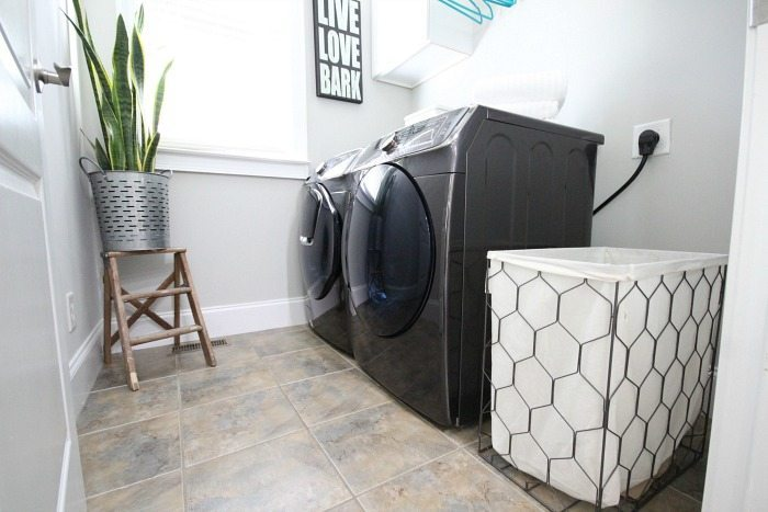 Small laundry makeover with stunning appliances - Samsung Black Stainless Steel Addwash and Dryer - the dynamic duo review at Refresh Restyle