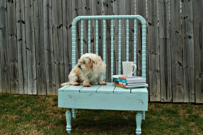 Steel wool natural paint and stain idea repurposed baby bed bench Refresh Restyle furniture idea