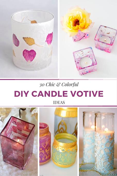 Upcycle and Repurposed - 30 Chic and Colorful DIY Candle Votive Ideas