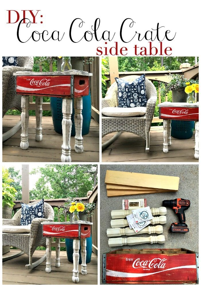 DIY Coca Cola Crate Side Table - get the instructions at RefreshRestyle.com