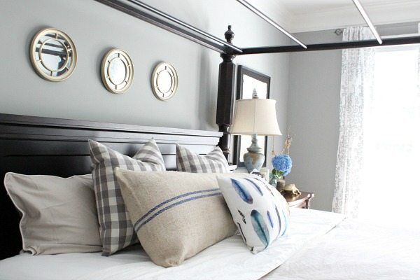 Feathers and plaids master bedroom tour at refreshrestyle.com