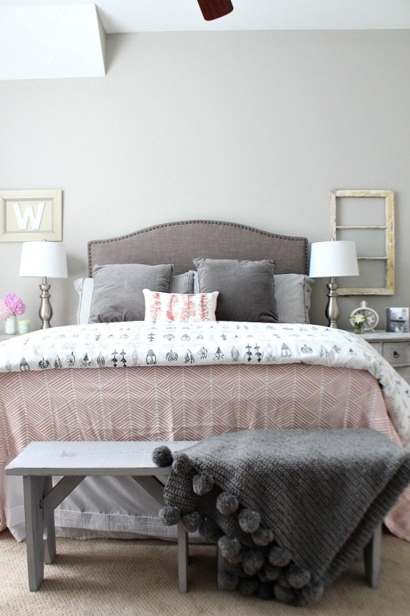 Guest room with corals and gray at refreshrestyle.com