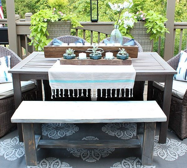 Make one - Farmhouse Bench - easy DIY instructions included at RefreshRestyle.com