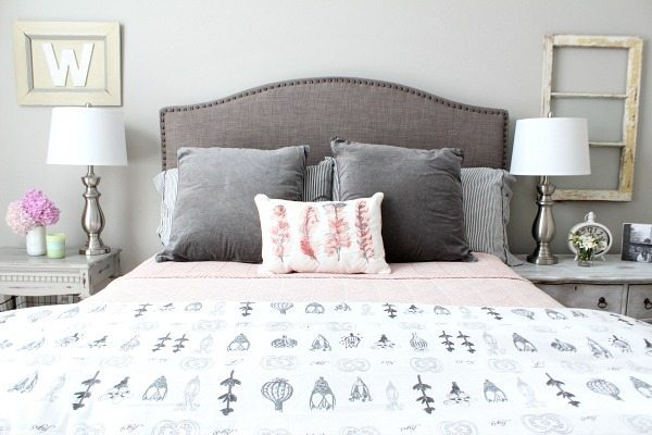 Soothing - Guest room with corals and gray at refreshrestyle.com
