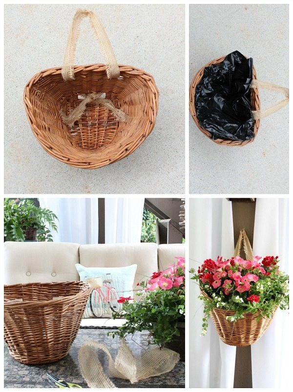 Step for making a bicycle basket planter at refreshrestyle.com