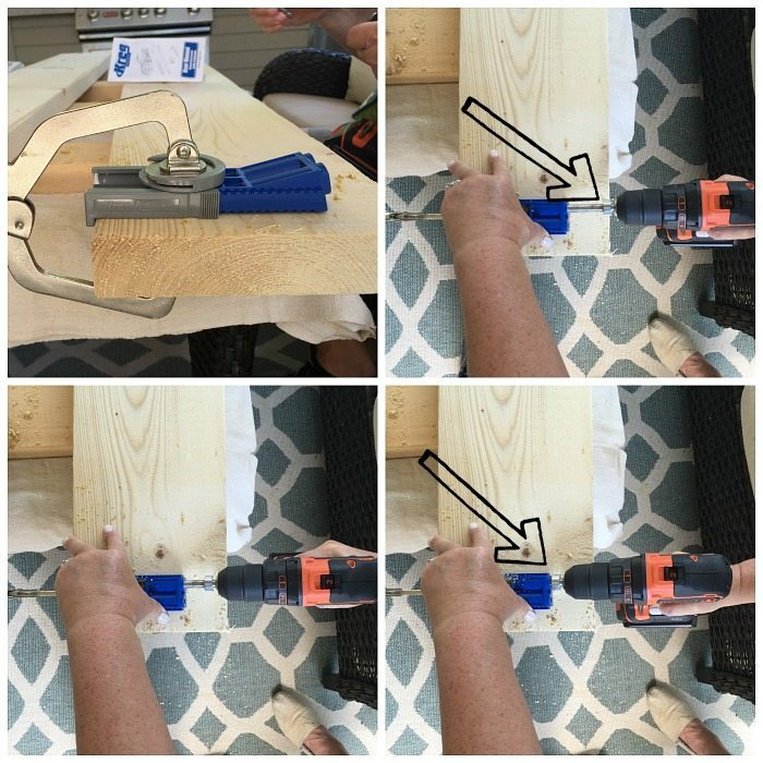 Using the Kreg jig - Construct a bench - Farmhouse bench plans at RefreshRestyle.com