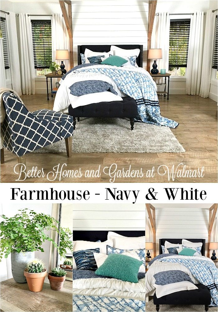 Farmhouse bedroom decor - budget friendly Better Homes and Gardens at Walmart via Refresh Restyle