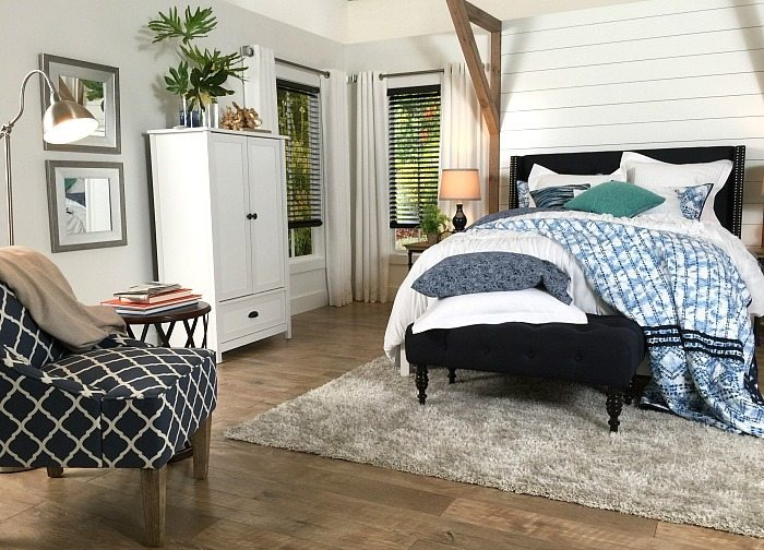 Light gray walls and dark blinds   Farmhouse Bedroom in Navy with shiplap  wall and paddedFarmhouse Bedroom Navy   White   Refresh Restyle. Farmhouse Bedroom. Home Design Ideas