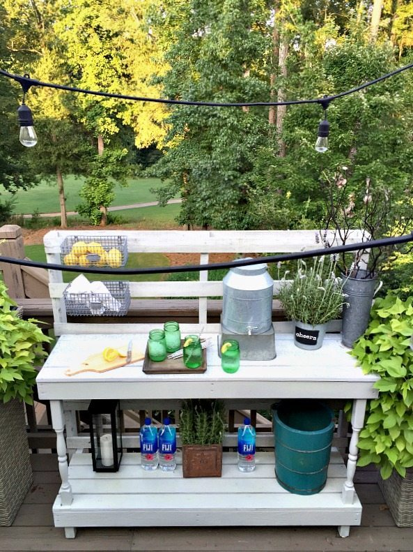 Made from a pallet - outdoor potting table serves as buffet or drink service area