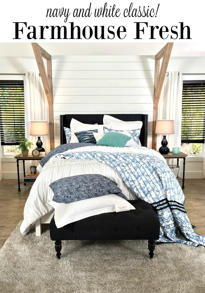 Navy and White Farmhouse Bedroom with shiplap wall and padded headboard at Refresh Restyle