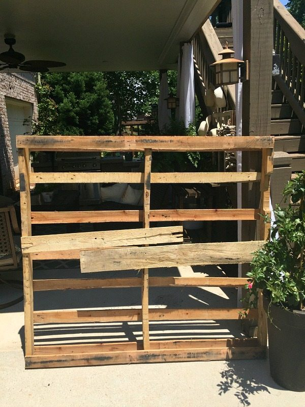 Repurposed - Made from a pallet - outdoor potting table serves as buffet or drink service area