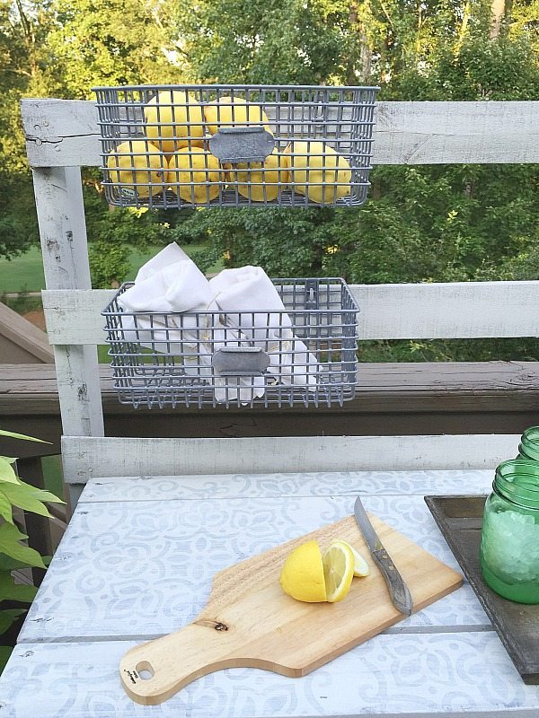 Rustic Pallet project - Dining -Rustic farmhouse serving area idea - Made from a pallet - outdoor potting table serves as buffet or drink service area