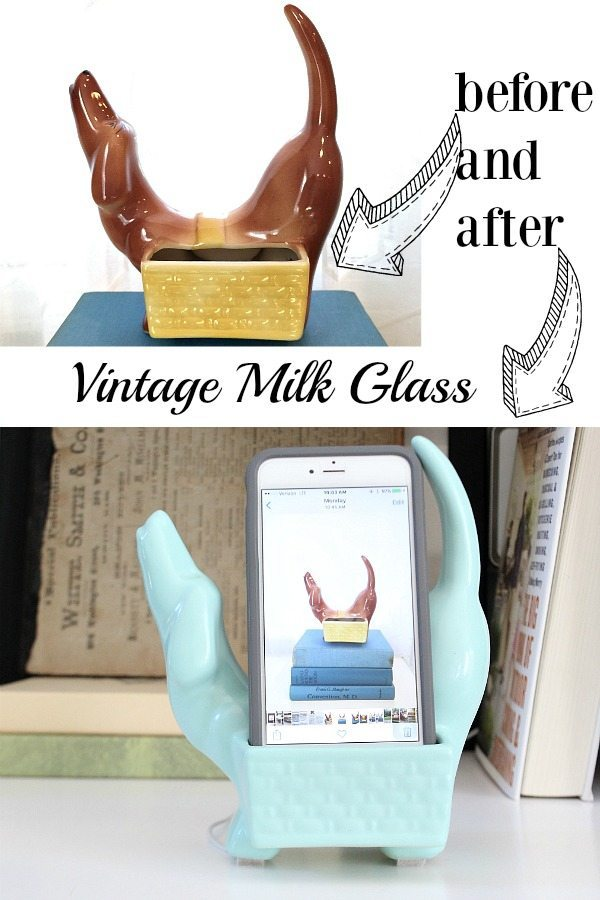 Vintage milk glass makeover now it holds my iPhone