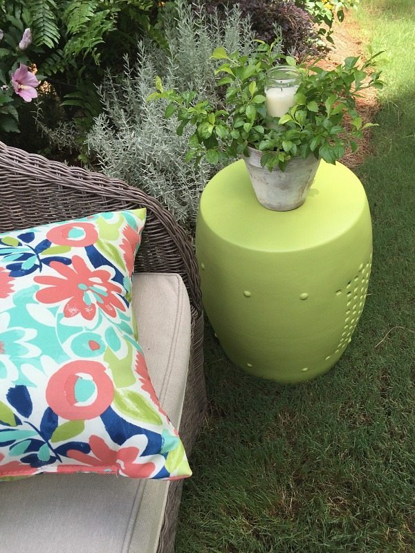 Bright colors are perfect for outdoor living - Outdoor garden stool makeover with DecoArt Americana Decor outdoor living paint