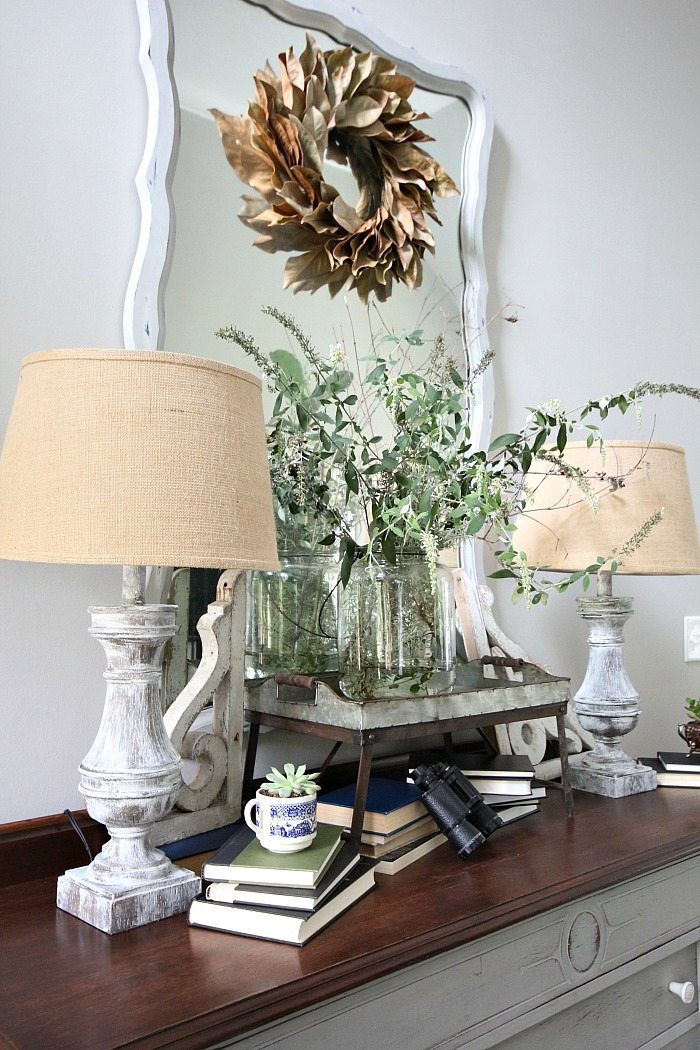Dried magnolia wreath painted furniture lamps and mirror