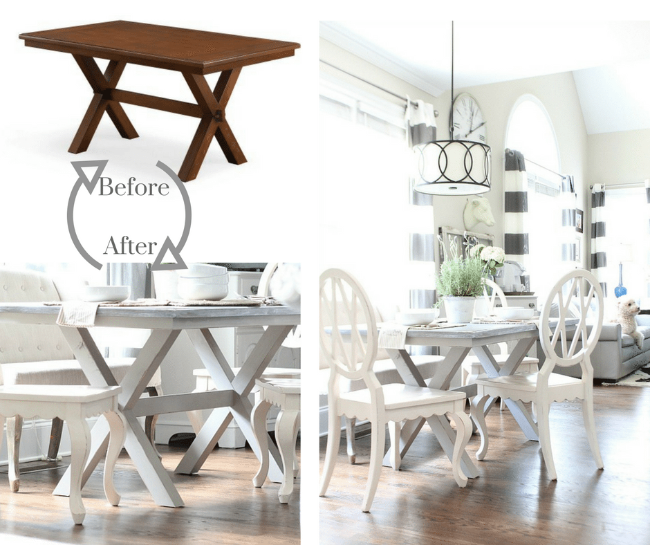 Farmhouse dining table light and bright painted and stained DIY Before and After