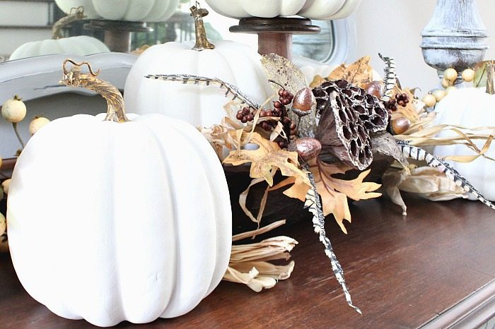 Faux white pumpkin idea for fall