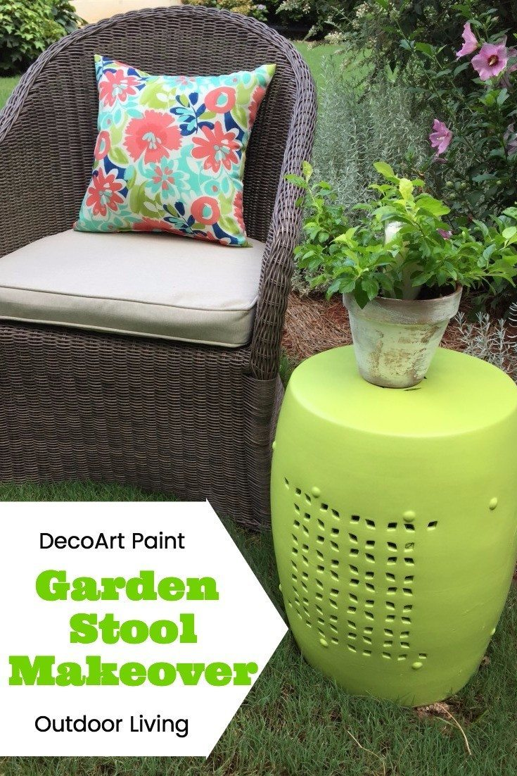 Garden Stool Makeover with DecoArt outdoor living paint