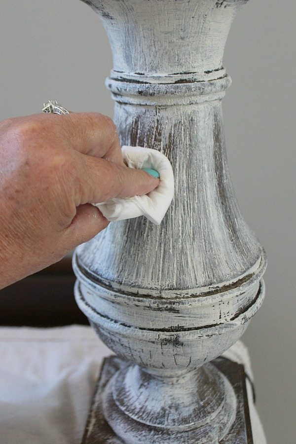 How to paint and distress a lamp base without sanding