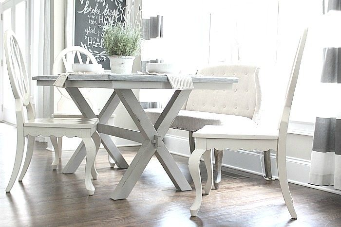 Light and Bright - Love the base of this farmhouse table perfect in gray tones