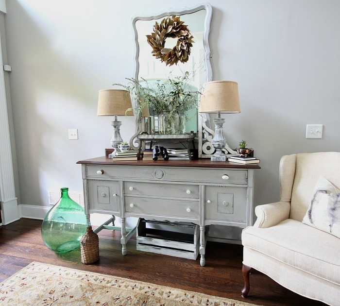 Light and Bright entry with painted lamps - mirror and sideboard buffet